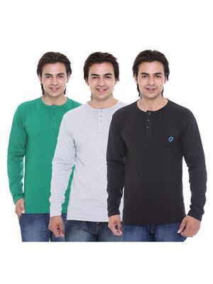 Ave-3Cm-Ht-Blk-Gy-Dg Multicolored Men T-Shirt Set Of 3