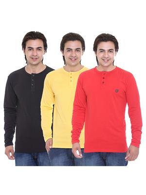 Ave-3Cm-Ht-Rd-Blk-Yl Multicolored Men T-Shirt Set Of 3