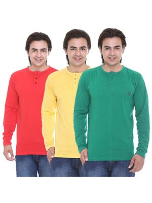 Ave -3Cm-Ht-Rd-Dg-Yl Multicolored Men T-Shirt Set Of 3