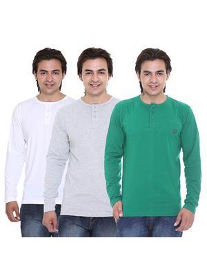 Ave-3Cm-Ht-Wh-Dg-Gy Multicolored Men T-Shirt Set Of 3