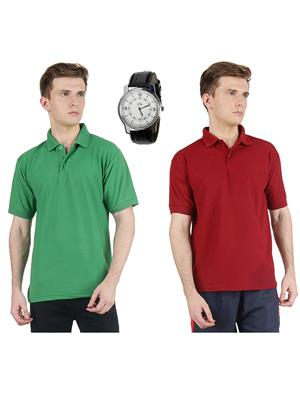 Ave Lg-Mrn Multicolored Men T-Shirt With Watch Combo Pack