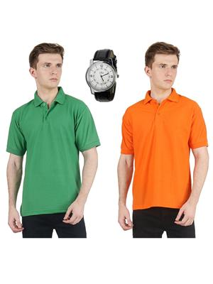 Ave Lg-Or Multicolored Men T-Shirt With Watch Combo Pack