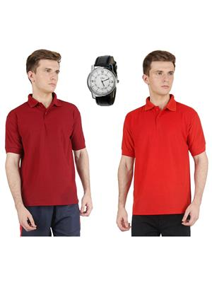 AVE-PT-2CM-Maroon-Red Men T-Shirt With Watch Combo
