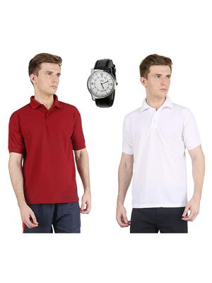 AVE-PT-2CM-Maroon-White Men T-Shirt With Watch Combo
