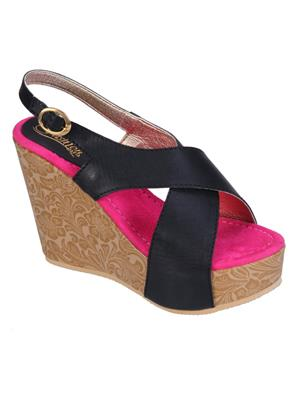Fashion Mafia AW-1B&P Black&Pink Women Wedges