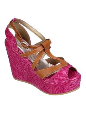 Fashion Mafia AW-3BR&P Brown&Pink Women Wedges