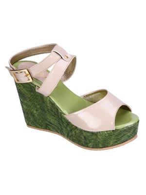 Fashion Mafia AW-4C&G Creem&Green Women Wedges