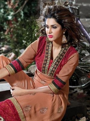 ADDA FASHION  AROMA 8008  RUST  UNSTITCHED  WOMAN SUITS