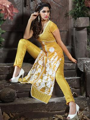 ADDA FASHION  AROMA 8009 YELLOW   UNSTITCHED  WOMAN SUITS