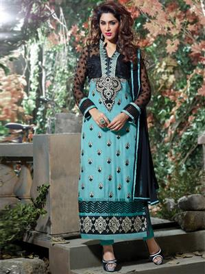 ADDA FASHION  AROMA 8001 BLUE   UNSTITCHED  WOMAN SUITS