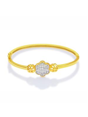 Mahi Fashion Jewellery floral White Stone Bangle