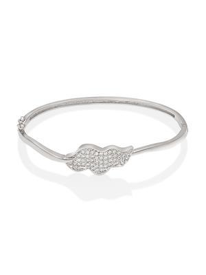 Mahi Fashion Jewellery Wavy leaves White Stone Bangle