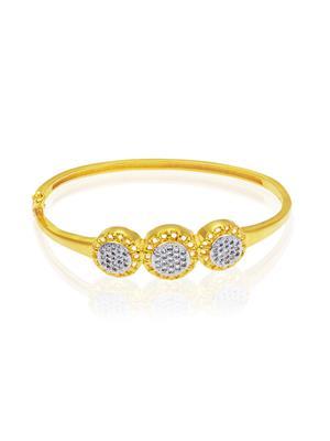 Mahi Fashion Jewellery Three round beauty White Stone Bangle