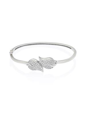 Mahi Fashion Jewellery Shimmering leaves White Stone Bangle
