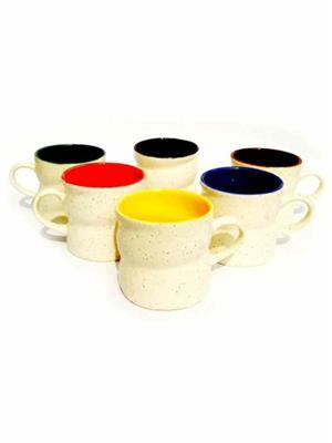 Buyers Beach BB158  Stylish Satrangi-curve-Duo-Tone Multicolor Mug  Set Of-6
