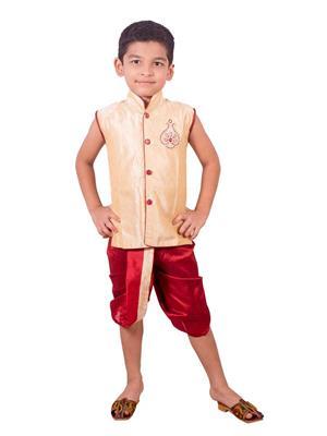 Deepak N Divya Bdk0015 Beige Boys Dhoti Kurta
