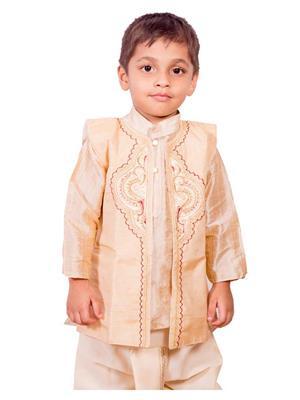 Deepak N Divya Bdk003 Beige Boys Dhoti Kurta White Jacket