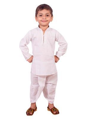 Deepak N Divya Bdk004 White Boys Dhoti Kurta
