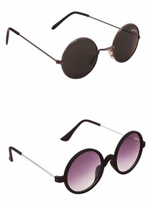 Benour BENCOM003 Black And Purple Unisex Sunglasses Combo of 2