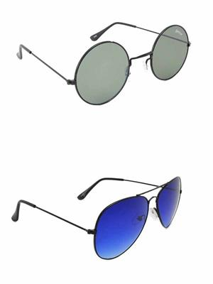 Benour BENCOM007 Grey And Blue Unisex Sunglasses Combo of 2