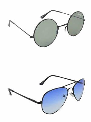 Benour BENCOM010 Grey And Purple Unisex Sunglasses Combo of 2