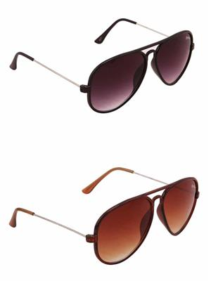 Benour BENCOM012 Black And Brown Unisex Sunglasses Combo of 2