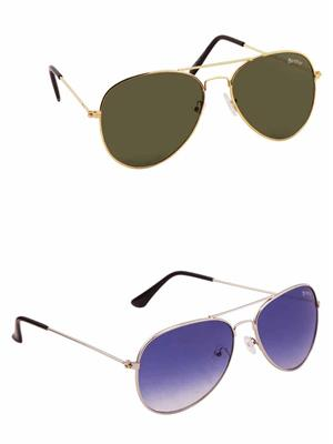 Benour BENCOM014 Green And Blue Unisex Sunglasses Combo of 2