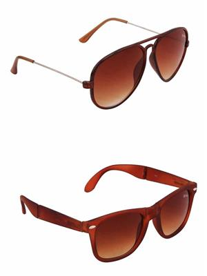 Benour BENCOM016 Brown And Brown Unisex Sunglasses Combo of 2