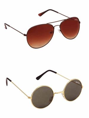 Benour BENCOM020 Brown And Green Unisex Sunglasses Combo of 2