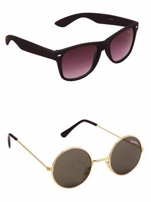 Benour BENCOM028 Purple And Green Unisex Sunglasses Combo of 2