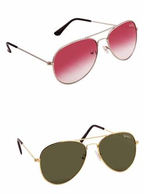 Benour BENCOM032 Red And Green Unisex Sunglasses Combo of 2