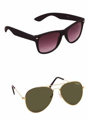 Benour BENCOM034 Purple And Green Unisex Sunglasses Combo of 2