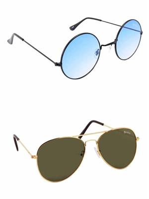 Benour BENCOM036 Blue And Green Unisex Sunglasses Combo of 2