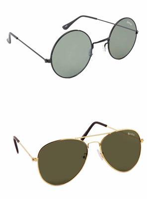 Benour BENCOM037 Grey And Green Unisex Sunglasses Combo of 2