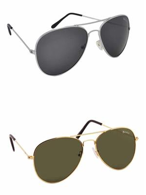 Benour BENCOM038 Grey And Green Unisex Sunglasses Combo of 2