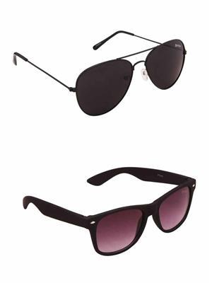 Benour BENCOM041 Black And Purple Unisex Sunglasses Combo of 2