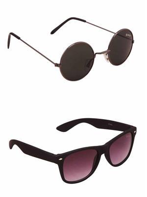 Benour BENCOM044 Black And Purple Unisex Sunglasses Combo of 2