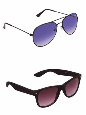 Benour BENCOM046 Blue And Purple Unisex Sunglasses Combo of 2