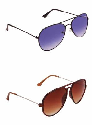 Benour BENCOM048 Blue And Brown Unisex Sunglasses Combo of 2