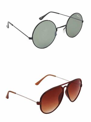 Benour BENCOM049 Grey And Brown Unisex Sunglasses Combo of 2