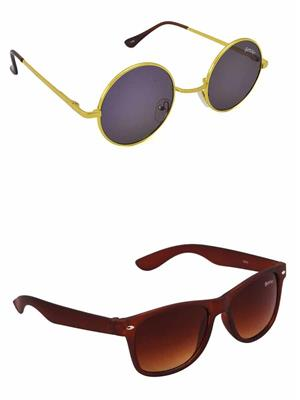 Benour BENCOM053 Blue And Brown Unisex Sunglasses Combo of 2