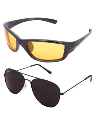 Benour Bencom058 Yellow, Black Unisex Sunglasses Set Of 2