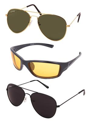 Benour Bentri001 Green-Yellow Unisex Sunglasses Set Of 3