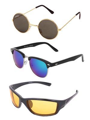 Benour Bentri002 Green-Blue Unisex Sunglasses Set Of 3