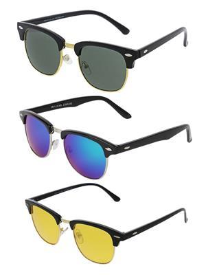 Benour Bentri005 Green-Yellow Unisex Sunglasses Set Of 3