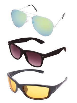 Benour Bentri010 Black-Yellow Unisex Sunglasses Set Of 3