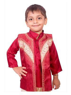 Deepak N Divya Bjk001 Maroon Boys Kurta Payjama With Jacket