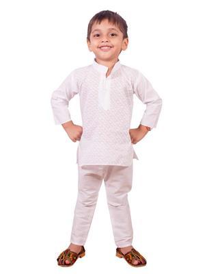 Deepak N Divya Bkp007 White Kurta Payjama