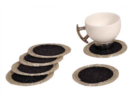 HOMEZ BKSC001 Silver Beaded Tea Coaster Set of 6