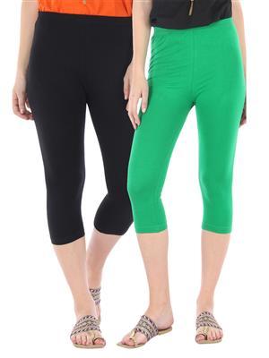 Bitterlime 03 Black-Green Women Leggings Set Of 2